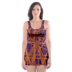 Blue and orange pattern Skater Dress Swimsuit