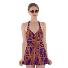Blue and orange pattern Halter Swimsuit Dress