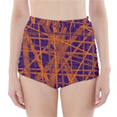 Blue and orange pattern High-Waisted Bikini Bottoms