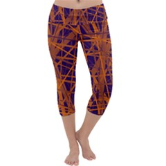 Blue And Orange Pattern Capri Yoga Leggings
