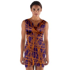 Blue and orange pattern Wrap Front Bodycon Dress