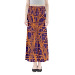 Blue and orange pattern Maxi Skirts