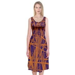 Blue and orange pattern Midi Sleeveless Dress
