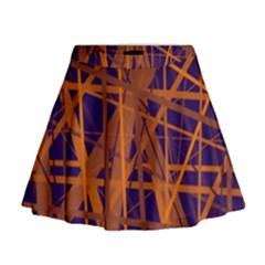 Blue and orange pattern Mini Flare Skirt