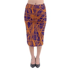 Blue and orange pattern Midi Pencil Skirt