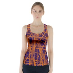 Blue and orange pattern Racer Back Sports Top