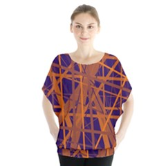 Blue and orange pattern Batwing Chiffon Blouse
