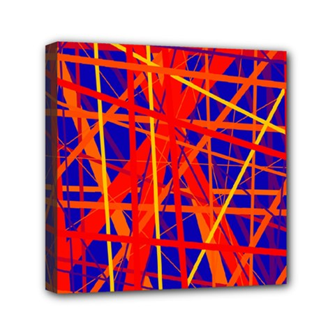 Orange and blue pattern Mini Canvas 6  x 6