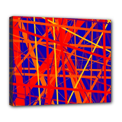 Orange and blue pattern Deluxe Canvas 24  x 20