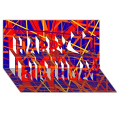 Orange and blue pattern Happy Birthday 3D Greeting Card (8x4)