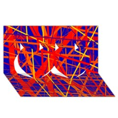Orange and blue pattern Twin Hearts 3D Greeting Card (8x4)