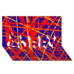 Orange and blue pattern SORRY 3D Greeting Card (8x4)