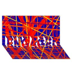 Orange and blue pattern ENGAGED 3D Greeting Card (8x4)