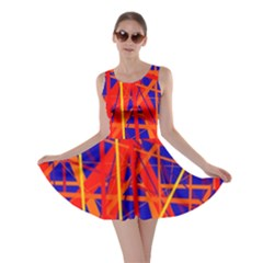 Orange and blue pattern Skater Dress