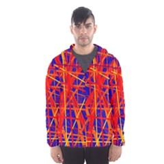 Orange and blue pattern Hooded Wind Breaker (Men)