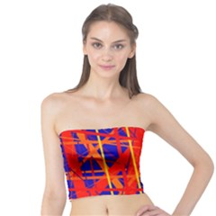 Orange and blue pattern Tube Top