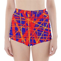Orange and blue pattern High-Waisted Bikini Bottoms