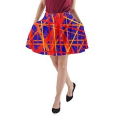 Orange and blue pattern A-Line Pocket Skirt