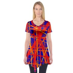 Orange and blue pattern Short Sleeve Tunic