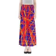 Orange And Blue Pattern Maxi Skirts