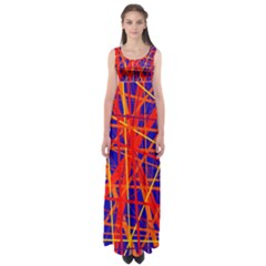 Orange And Blue Pattern Empire Waist Maxi Dress