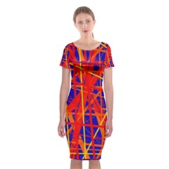Orange and blue pattern Classic Short Sleeve Midi Dress