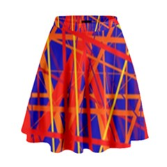 Orange And Blue Pattern High Waist Skirt