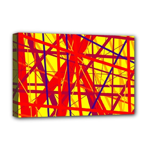 Yellow and orange pattern Deluxe Canvas 18  x 12