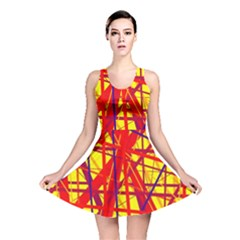 Yellow And Orange Pattern Reversible Skater Dress