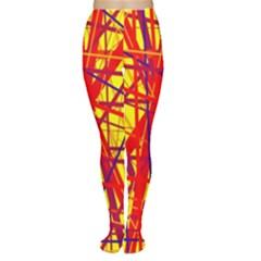 Yellow and orange pattern Women s Tights
