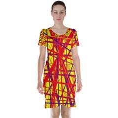 Yellow and orange pattern Short Sleeve Nightdress