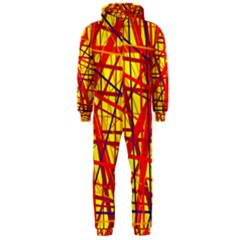 Yellow and orange pattern Hooded Jumpsuit (Men)