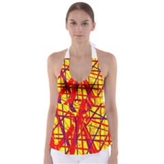 Yellow and orange pattern Babydoll Tankini Top