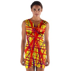 Yellow and orange pattern Wrap Front Bodycon Dress