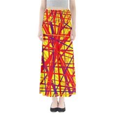 Yellow and orange pattern Maxi Skirts
