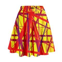 Yellow and orange pattern High Waist Skirt
