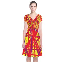Yellow and orange pattern Short Sleeve Front Wrap Dress