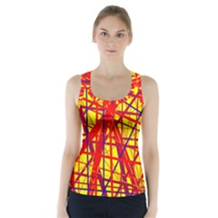 Yellow and orange pattern Racer Back Sports Top