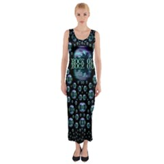 One Woman One Island And Rock On Fitted Maxi Dress
