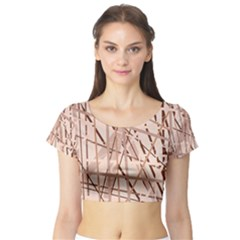 Brown pattern Short Sleeve Crop Top (Tight Fit)