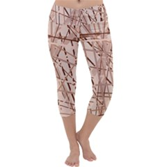 Brown pattern Capri Yoga Leggings