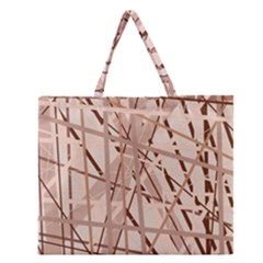 Brown pattern Zipper Large Tote Bag