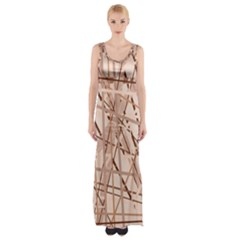 Brown pattern Maxi Thigh Split Dress
