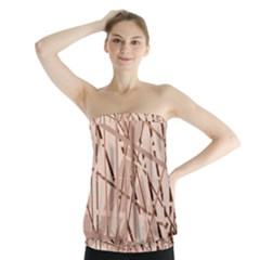 Brown Pattern Strapless Top