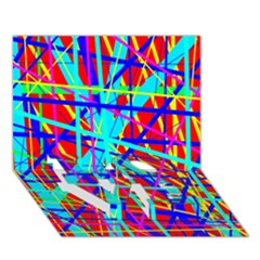 Colorful pattern LOVE Bottom 3D Greeting Card (7x5)
