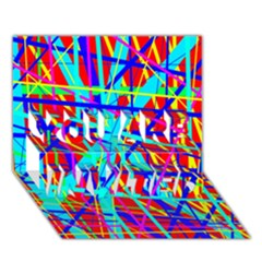 Colorful pattern YOU ARE INVITED 3D Greeting Card (7x5)