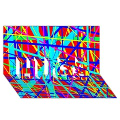 Colorful pattern HUGS 3D Greeting Card (8x4)