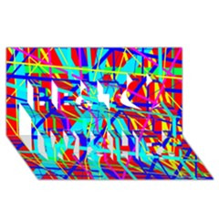 Colorful pattern Best Wish 3D Greeting Card (8x4)