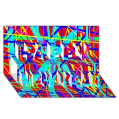 Colorful pattern Happy New Year 3D Greeting Card (8x4)