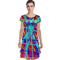 Colorful pattern Cap Sleeve Nightdress